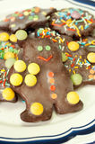 Bunte Schokoladenweihnachtsplätzchen Lizenzfreies Stockbild