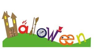 Bunte scketch Buchstaben, Text von Halloween mit Symbolen des Feiertags Lizenzfreies Stockbild