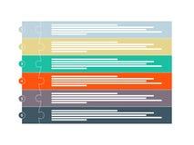 Bunte sechs infographic Schablone der Stückpuzzlespiel-Darstellung Stockfotografie