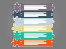 Bunte sechs infographic Schablone der Stückpuzzlespiel-Darstellung stock abbildung