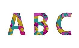 Bunte sich hin- und herbewegende geschnittene Papierart beschriftet ABC Alphabet vieler Papierschichten lokalisiert auf weißem Hi Stockbilder