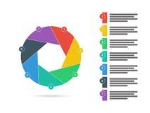 Bunte sieben versahen Diagramm-Diagrammvektor der flachen Fensterladenpuzzlespieldarstellung infographic mit Seiten Stockbild