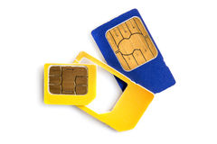 Bunte SIM-Karten lokalisiert auf Weiß Lizenzfreies Stockfoto