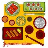 Bunte Skizzenikone des japanischen Kücheabendessens Lizenzfreie Stockbilder