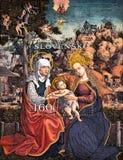 Bunte slowakische Briefmarke mit christlichem Thema Lizenzfreie Stockfotografie