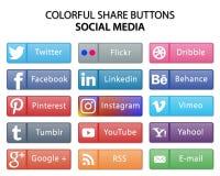 Bunte Social Media-Anteil-Netzknöpfe lizenzfreie abbildung