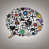 Bunte Sozialmedien-Sprache-Blase Stockfoto