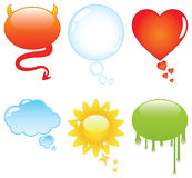 Bunte Sprache-und Gesprächs-Luftblasen Stockfotos