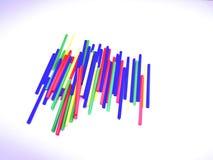 Bunte Stöcke der Nahaufnahmelandschaftszusammenfassung lokalisiert auf weißem Hintergrund Stockfoto