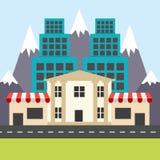 Bunte Stadt in der flachen Art Eckshops, Häuser und Bank Lizenzfreie Stockfotografie