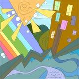 Bunte Stadt mit Sonneregenbogen Stockfoto