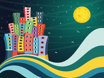 Bunte Stadt-Nachtvektor-Illustration stock abbildung