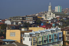 Bunte Stadt von Valparaiso, Chile Stockfotografie
