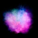 Bunte Staub-Partikel-Explosion lokalisiert auf schwarzem Hintergrund Lizenzfreie Stockfotografie