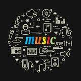 Bunte Steigung der Musik mit Linie Ikonen eingestellt Lizenzfreies Stockfoto