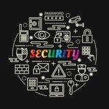 Bunte Steigung der Sicherheit mit Linie Ikonen eingestellt Stockfotografie