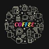 Bunte Steigung des Kaffees mit Linie Ikonen eingestellt Lizenzfreie Stockfotografie