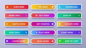 Bunte Steigungsknöpfe Klarer Netzknopf mit Ikone oder Pfeil, unterzeichnen herein und Ikonen lokalisierten Vektorsatz zu unterzei lizenzfreie abbildung