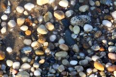 Bunte Steine auf Gardiners-Bucht Stockfoto