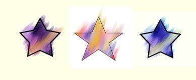 Bunte Sterne auf einem weißen Hintergrund Stockfotografie