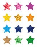12 bunte Sternikonen, Stern lokalisiert auf weißem Hintergrund Vektorformat verfügbar Stockfoto