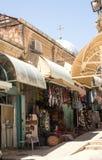 Bunte Straße in altem Jerusalem Stockbild