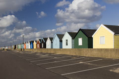 Bunte Strand-Hütten, Southwold, Suffolk, England Stockbild