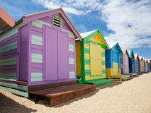 Bunte Strandhütten in Australien Lizenzfreies Stockfoto