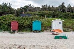 Bunte Strandhütten Dänemarks Lizenzfreies Stockfoto