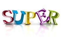 Bunte SUPERwort-Buchstaben auf weißem Hintergrund Stockbilder