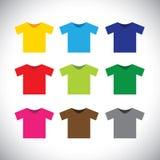 Bunte T-Shirts Vektorikonen lizenzfreie abbildung