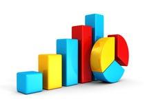 Bunte Torte des Geschäfts und Balkendiagramm stellen Diagramme grafisch dar Lizenzfreie Stockbilder