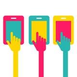 Bunte Touch Screen Smartphoneikone Handzeigersymbol Vect Stockfotos