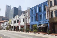 Bunte traditionelle Häuser Singapurs in Chinatown Stockfotografie