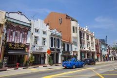 Bunte traditionelle Häuser Singapurs in Chinatown Lizenzfreies Stockbild
