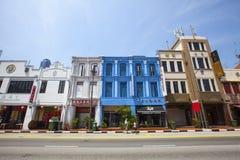 Bunte traditionelle Häuser Singapurs in Chinatown Stockfoto