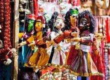 Bunte traditionelle nepalesische Marionetten Lizenzfreies Stockbild