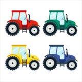 Bunte Traktoren auf weißem Hintergrund, flache Art Lizenzfreies Stockbild