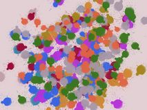 Bunte Tropfen und Punkte im rosa Hintergrund stockbilder