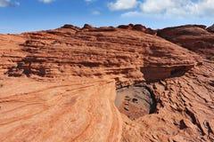 Bunte und fantastische Klippen des roten Sandsteins. Lizenzfreies Stockbild