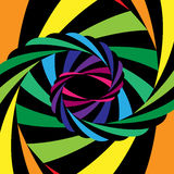 Bunte und schwarze gestreifte Turbulenz, die zur Mitte zusammenläuft Optische Täuschung der Tiefe und der Bewegung Stockbilder