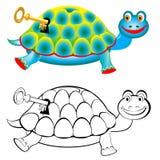 Bunte und Schwarzweiss-Musterschildkröte Stockfotografie