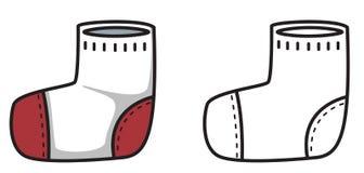 Bunte und Schwarzweiss-Socke für Malbuch Stockfotografie