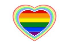Bunte und vielschichtige Herzform über Regenbogen LGBT färbte die Streifen, lokalisiert auf weißem transparentem Hintergrund, Pap stock abbildung