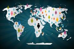 Bunte Vektor-Leute-Ikonen auf Weltkarte Stockbild