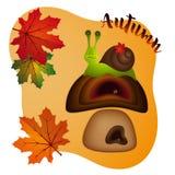 Bunte Vektorillustration des Herbstes mit Ahornblättern lizenzfreies stockfoto