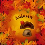 Bunte Vektorillustration des Herbstes mit Ahornblättern und Pilz stockbilder