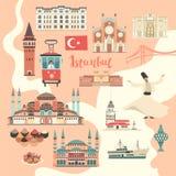Bunte Vektorkarte Istanbul-Stadt Berühmtes Istanbul-Gebäude lizenzfreie stockfotos