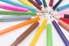 Bunte verschiedene Bleistifte Stockbild
