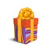 Bunte violette und orange Feier-Geschenkbox mit Bogen-Isolat vektor abbildung